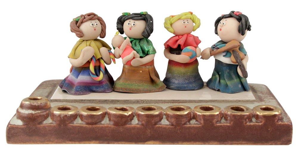 Girls at Play Hanukkah Menorah