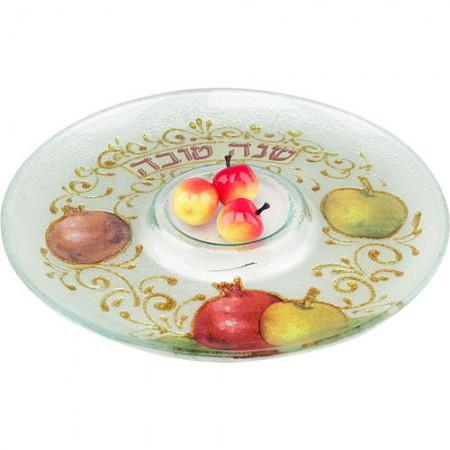 Fancy Round Rosh Hashanah Serving Dish