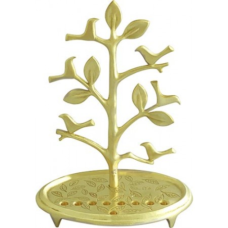 Solid Brass Birds On Tree Menorah By Shraga Landesman
