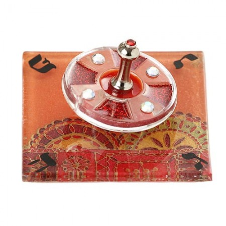 Warm Colors Acrylic Dreidel with Glass Base
