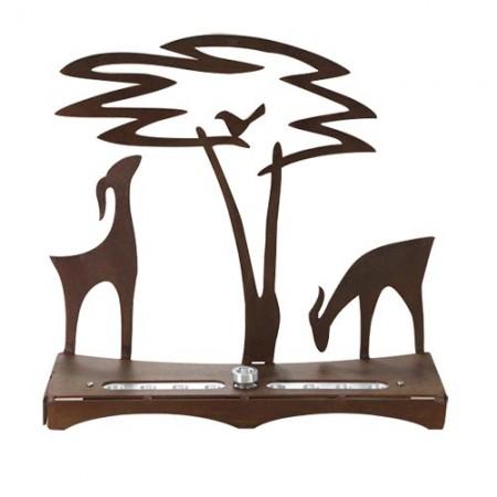 Deer and Acacia Tree Chanukah Menorah by Shraga Landesman