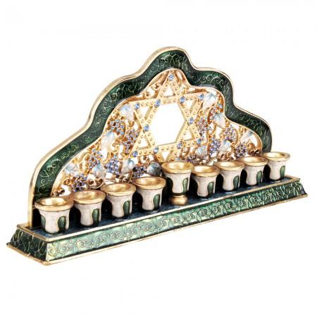 Enamel Gold and Green Hanukkah Menorah