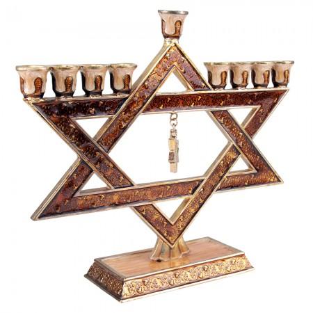 Enamel Copper and Gold Hanukkah Menorah