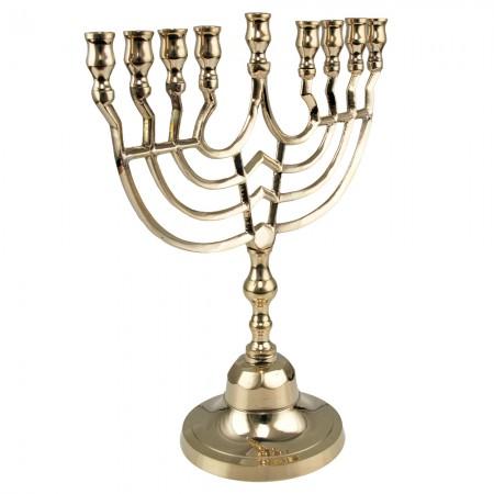 Shiny Brass Hanukkah Menorah