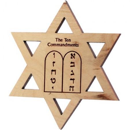 Jewish Star Ten Commandments Olive Wood Magnet