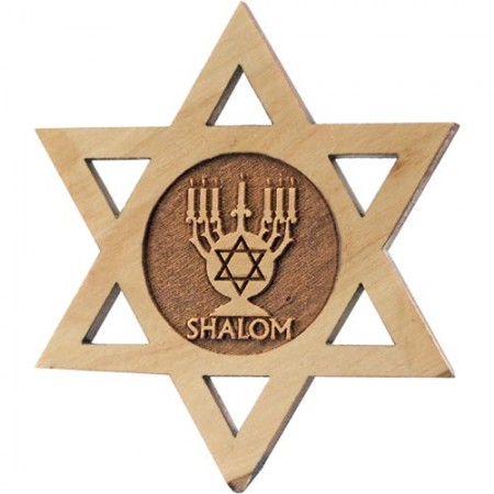 Jewish Star Olive Wood Menorah Magnet