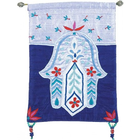 Hamsa Flowers Blue Wall Hanging