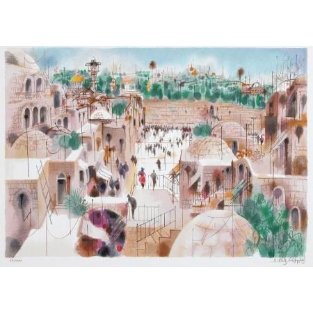 The Jewish Quarter  21x15 / 55x39cm Serigraph 1995
