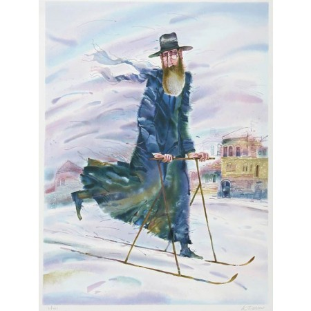 Rabbi on the Move  27x35.5 / 68x90 cm Serigraph 1997