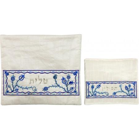 Blue on White Pomegranate Tallit & Tfillin Bag Set by Yair Emanuel