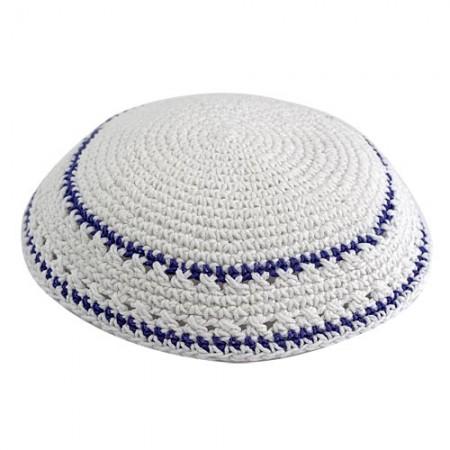 White & Blue Knitted Kippah