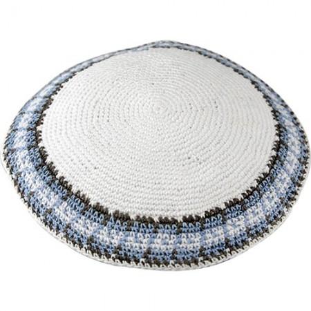 Blue on White Knitted Kippah