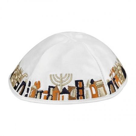 White Satin Kippah with Jerusalem Scene