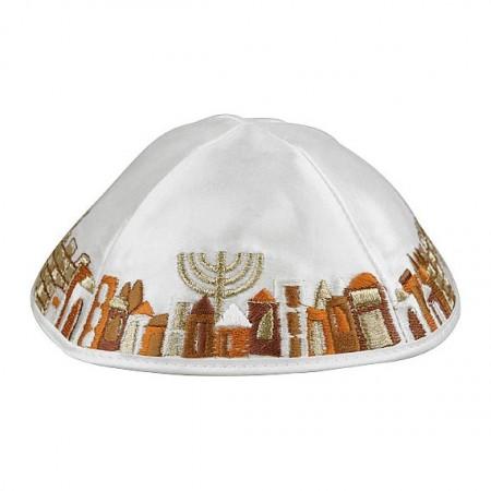 White and Gold Satin Kippah with Jerusalem Scene