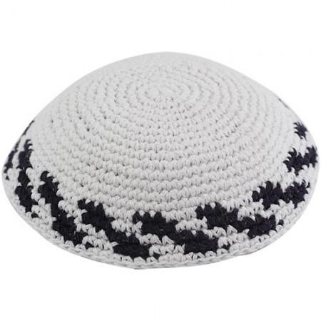 White Knitted Kippah Black Stripes
