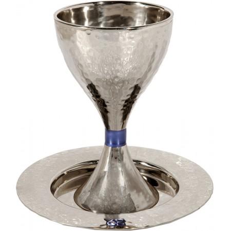 Modern Blue-Ring Kiddush Cup by Yair Emanuel