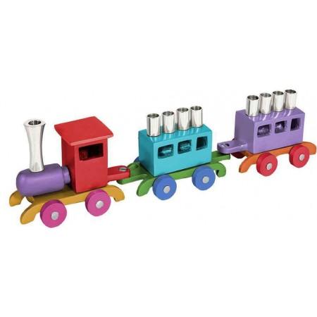 Colorful Wooden Train Hanukkah Menorah by Yair Emanuel