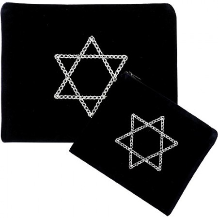 Velvet Tallit and Tefillin Bag Set with Jewish Star Decoration