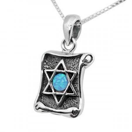 Silver & Opal Scroll-design Jewish Star Pendant