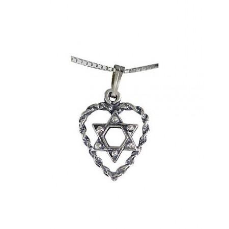 Silver Filigree Magen David With Heart Pendant
