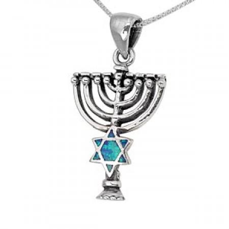 Silver And Opal Jewish Symbols Pendant Judaica Mall