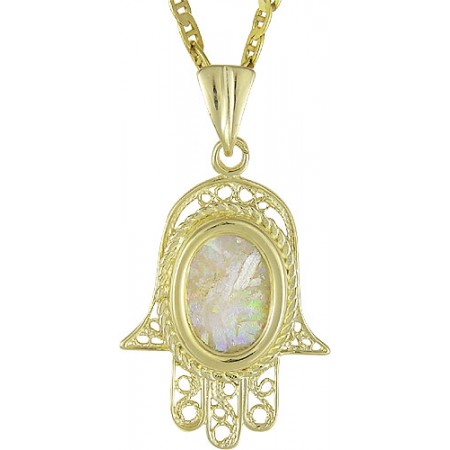 Hamsa Roman Glass Pendant
