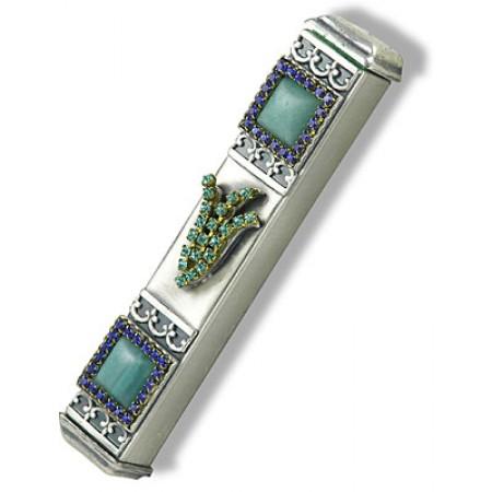 Jeweled Pewter Mezuzah
