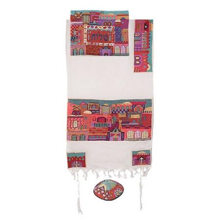 Yair Imanuel Embroidered Jerusalem In Color Tallit