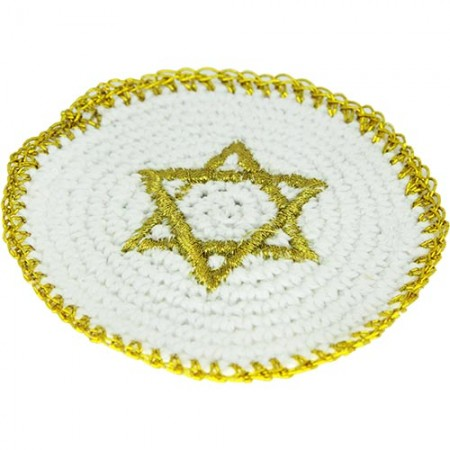 White & Gold Embroidered Knitted baby Kippah