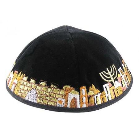 Black Jerusalem Yarmulke
