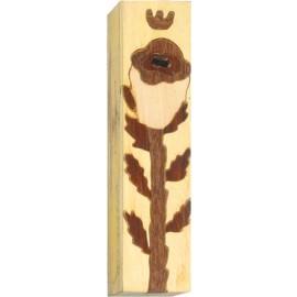 Tulip Inlay Wood Mezuzah