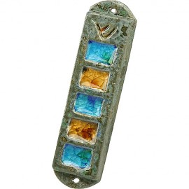 Frost Green Ceramic Mezuzah