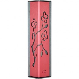 Bright Red-and-charcoal Almond Tree Mezuzah by Shraga Landesman