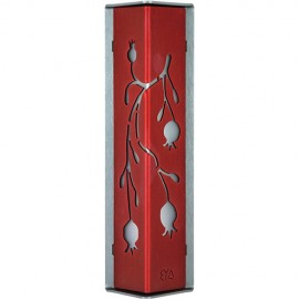 Radiant Red-and-Charcoal Pomegranate Mezuzah by Shraga Landesman