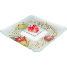 Fancy Square Rosh Hashanah Serving Dish + Golden Spoon