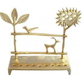 Solid Brass Trees Menorah by Shraga Landesman