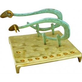 Solid Brass Sheep Menorah by Shraga Landesman