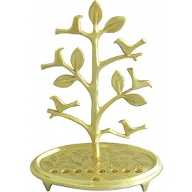 Solid Brass Birds On Tree Menorah By Shraga Landesman