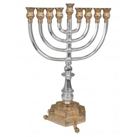 Ornate Gold and Silver Colored Hanukkah Menorah