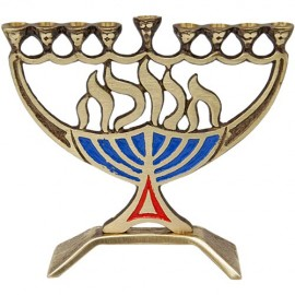 Small Unique Polished Brass Hanukkah Menorah