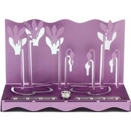 Stunning Purple Cyclamen Hanukkah Menorah by Shraga Landesman