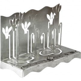 Striking Silver Cyclamen Hanukkah Menorah by Shraga Landesman
