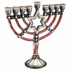 "Enamel and Pewter ""Magen David"" Design Hanukkah Menorah"