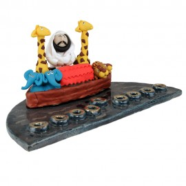 This is a Noah's Ark Hanukkah Menorah by Yigal