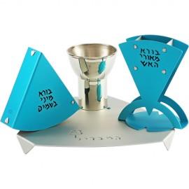 Beautiful Blue-and-Silver Havdalah Set by Shraga Landesman