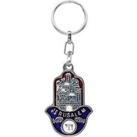 Blue Jerusalem Chai Key Chain