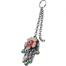 Floral Hamsa Key Chain