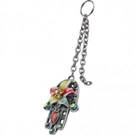 Multi-Colored Floral Hamsa Key Chain