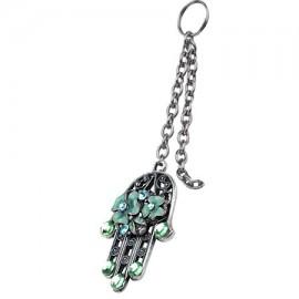 Turquoise Floral Hamsa Key Chain