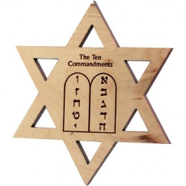 Jewish Star Ten Commandments Olive Wood Magnet